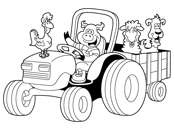 simple tractor coloring coloring pages