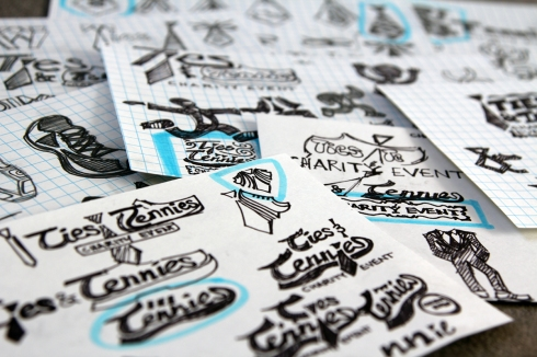 Exploratory sketches for Ties & Tennies Together logo