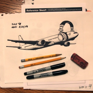 Day 9 Challenge: Man-made (technical) drawing. My subject: plane and headphones.