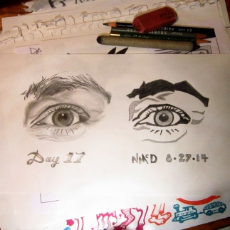 Day 17 Challenge: Realistic eye, graphic eye I drew my wife's left eye. She said I need to take this drawing with me wherever I go so she can keep an eye on me.