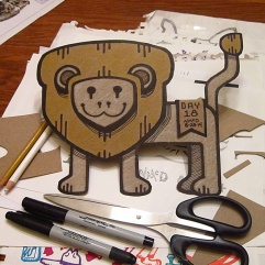 Day 18 Challenge: Cardboard Doodle. This is a Von Glitschka thing I've always wanted to do!