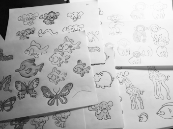 Animal preliminary sketches for kids care signage at First Free Rockford (2015)