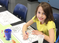 Sapora Playworld coloring mat in party room